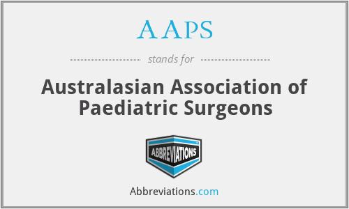 AAPS - Australasian Association of Paediatric Surgeons