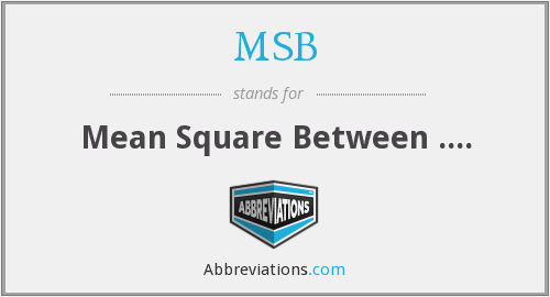 MSB - Mean Square Between ....