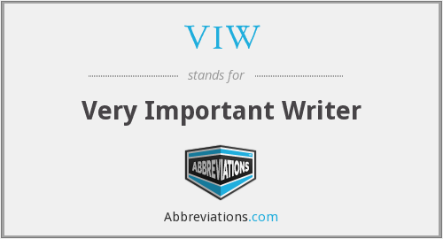 VIW - Very Important Writer