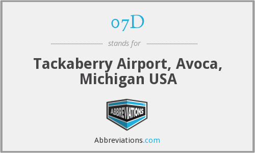 07D - Tackaberry Airport, Avoca, Michigan USA