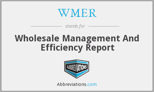 WMER - Wholesale Management And Efficiency Report