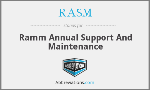 RASM - Ramm Annual Support And Maintenance