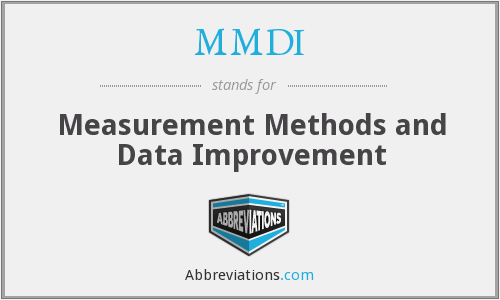 MMDI - Measurement Methods and Data Improvement