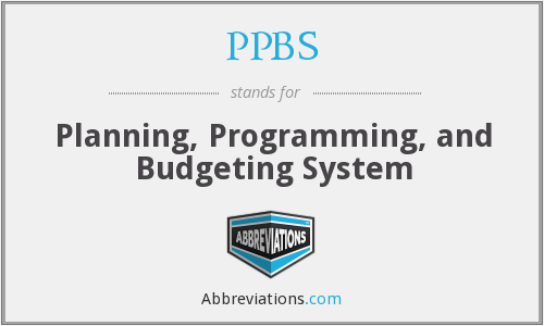 PPBS - Planning, Programming, and Budgeting System