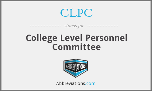 CLPC - College Level Personnel Committee