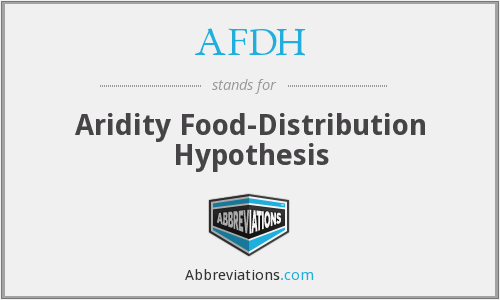 AFDH - Aridity Food-Distribution Hypothesis