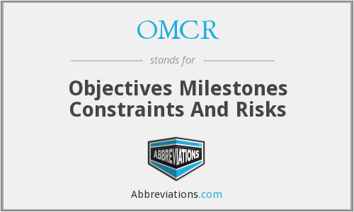 OMCR - Objectives Milestones Constraints And Risks