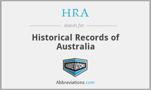 HRA - Historical Records of Australia