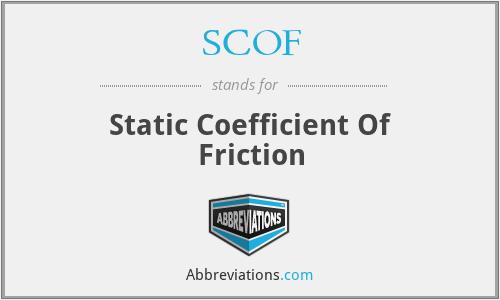 SCOF - Static Coefficient Of Friction
