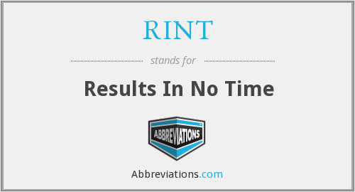 RINT - Results In No Time