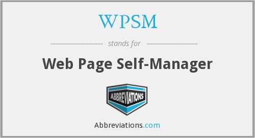 WPSM - Web Page Self-Manager
