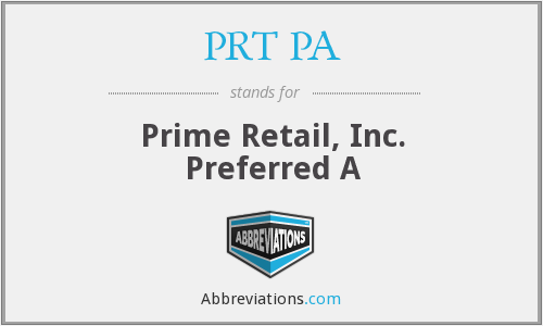 What does PRT PA stand for?