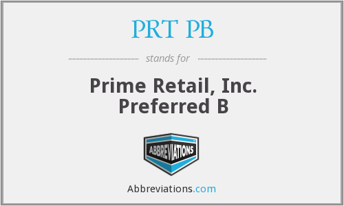 What does PRT PB stand for?