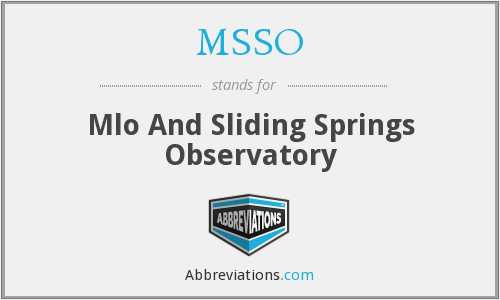 MSSO - Mlo And Sliding Springs Observatory