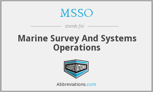 MSSO - Marine Survey And Systems Operations