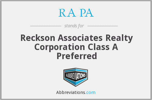 RA PA - Reckson Associates Realty Corporation Class A Preferred