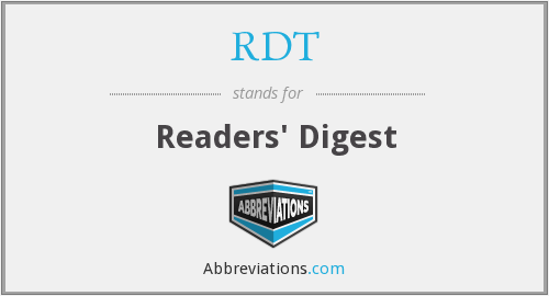What does RDT stand for?