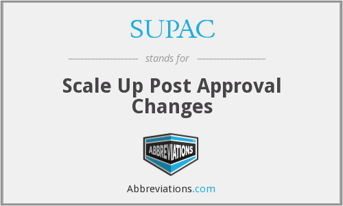 SUPAC - Scale Up Post Approval Changes