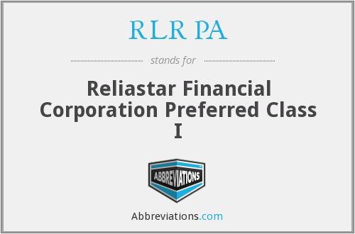 RLR PA - Reliastar Financial Corporation Preferred Class I