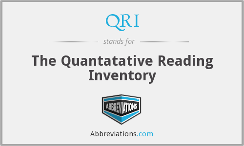QRI - The Quantatative Reading Inventory