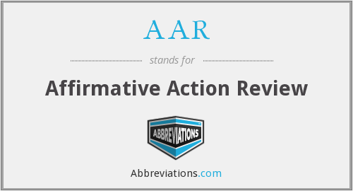 AAR - Affirmative Action Review