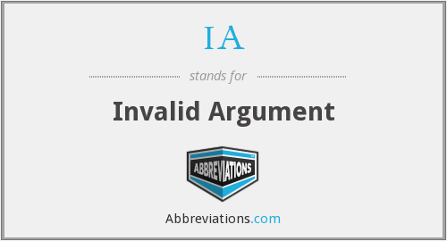 IA - Invalid Argument