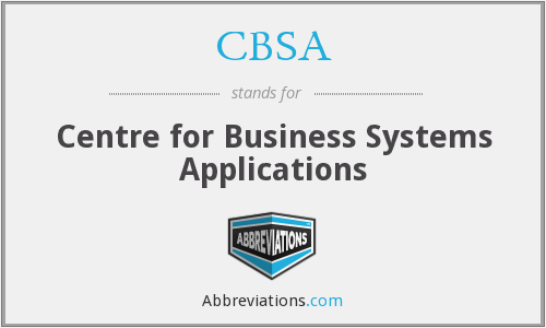 CBSA - Centre for Business Systems Applications