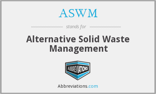 ASWM - Alternative Solid Waste Management