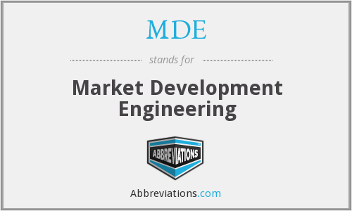 MDE - Market Development Engineering