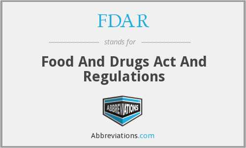 FDAR - Food And Drugs Act And Regulations
