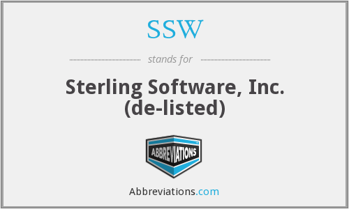 SSW - Sterling Software, Inc. (de-listed)