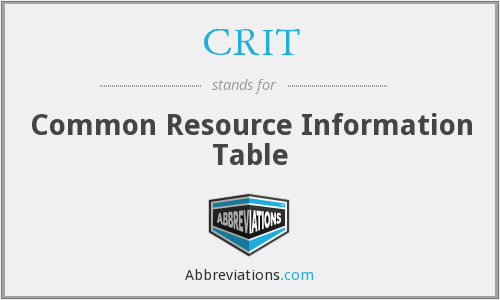 CRIT - Common Resource Information Table