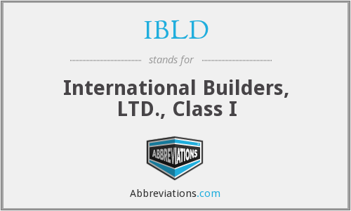 IBLD - International Builders, LTD., Class I