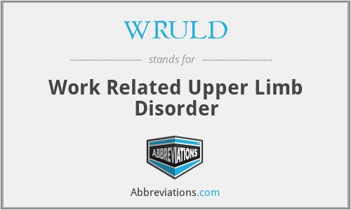 WRULD - Work Related Upper Limb Disorder
