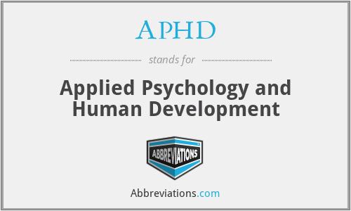 APHD - Applied Psychology and Human Development