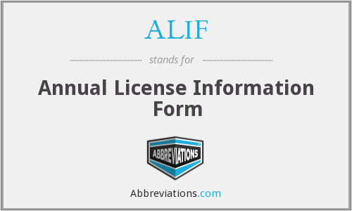 ALIF - Annual License Information Form