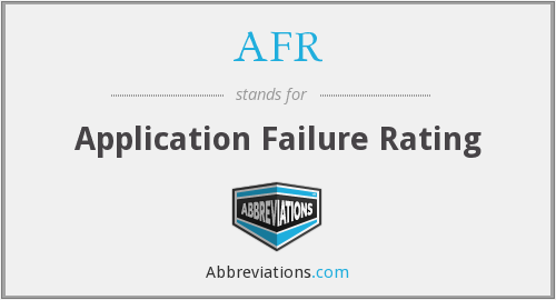 AFR - Application Failure Rating