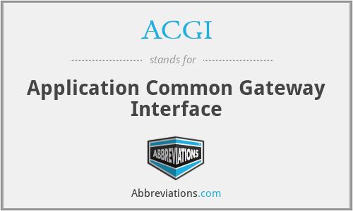 ACGI - Application Common Gateway Interface