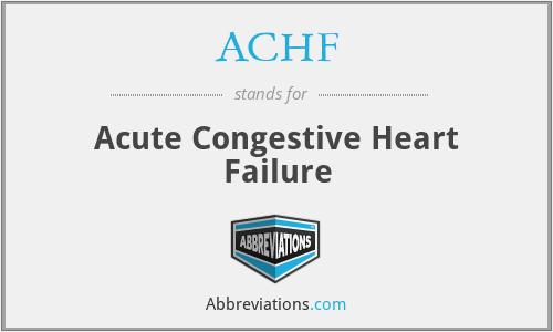 ACHF - Acute Congestive Heart Failure