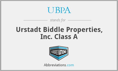 UBPA - Urstadt Biddle Properties, Inc. Class A