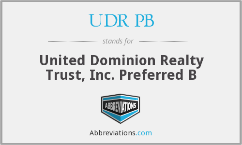 What does UDR PB stand for?