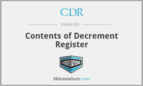 CDR - Contents of Decrement Register