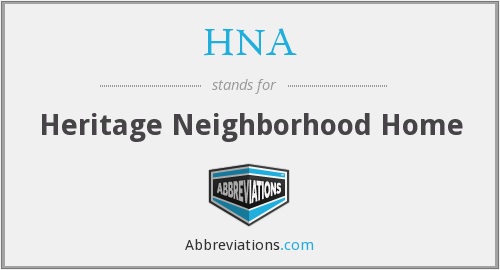 HNA - Heritage Neighborhood Home