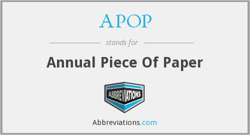 APOP - Annual Piece Of Paper
