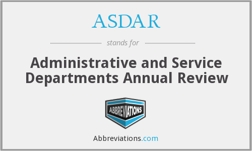 ASDAR - Administrative and Service Departments Annual Review