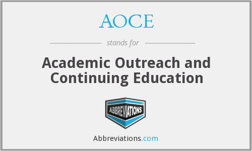 AOCE - Academic Outreach and Continuing Education