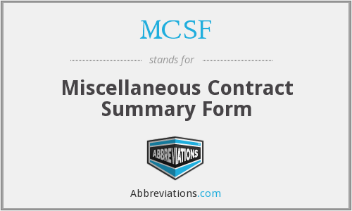 MCSF - Miscellaneous Contract Summary Form