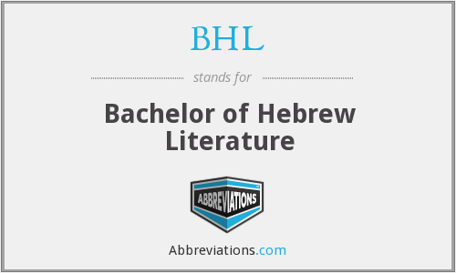 BHL - Bachelor of Hebrew Literature