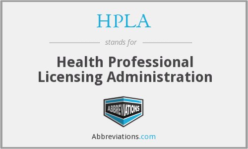HPLA - Health Professional Licensing Administration
