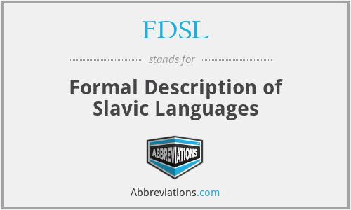 FDSL - Formal Description of Slavic Languages